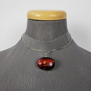 Silver & Red Gemstone Necklace & Earrings Set